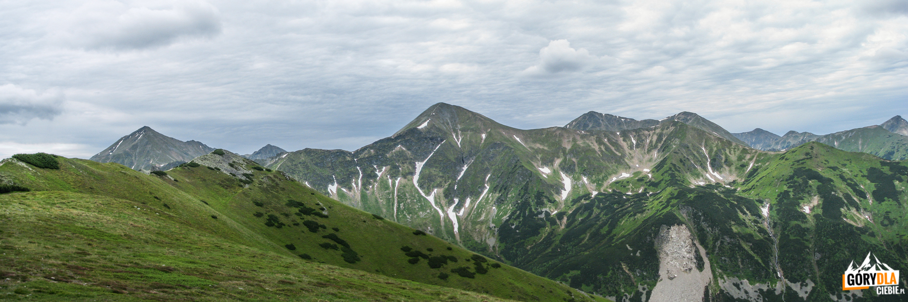 Widok zSuchego Wierchu Ornaczańskiego (1832 m) - odlewej: Błyszcz (2158 m) iBystra (2248 m), Zadnia Kopa (2162 m), Starorobociański Wierch (2176 m), Raczkowa Czuba (2194 m), Jarząbczy Wierch (2137 m), Baraniec (2185 m), Smrek (2082 m) iRohacze