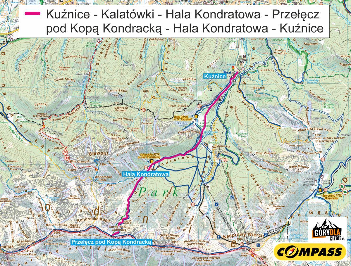 Przełęcz pod Kopą Kondracką - skitury - mapa