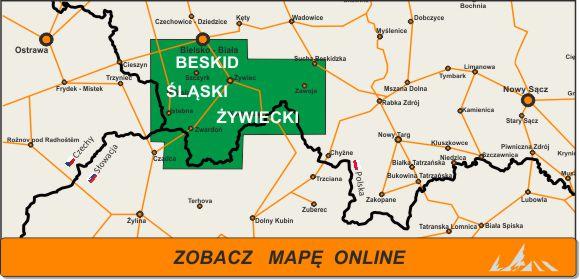 Mapa zakres Beskid Śląski i Żywiecki