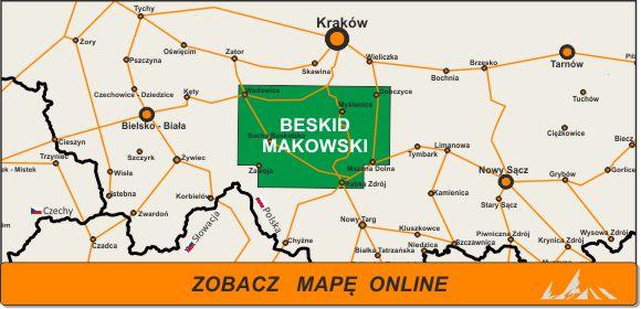 Mapa zakres Beskid Makowski