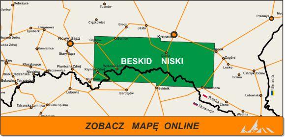 Mapa zakres Beskid Niski
