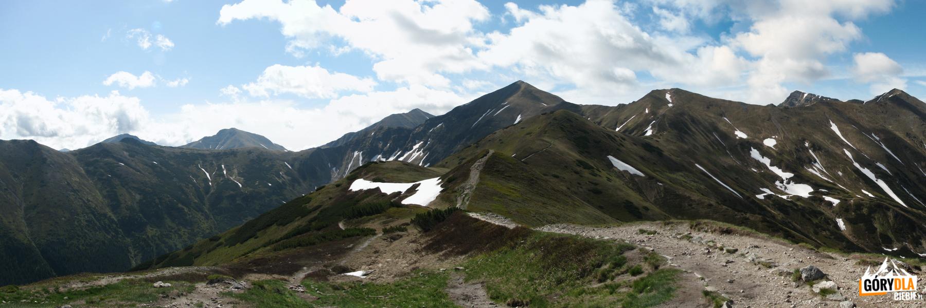 Widok zTrzydniowiańskiego Wierchu (1758 m) naKamienistą (2126 m), Błyszcz (2158 m), Bystrą (2248 m), Starorobociański Wierch (1758 m), Kończysty Wierch (2002 m), Raczkową Czubę (2194 m) iJarząbczy Wierch (2137 m)