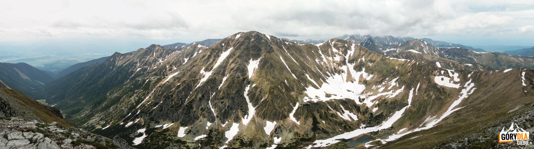 Widok zeszczytu Starorobociańskiego Wierchu (2176 m) nagrań Otargańców, Raczkową Czubę (2194 m), Jarząbczy Wierch (2137 m), Rohacze, iWołowiec (2064 m)
