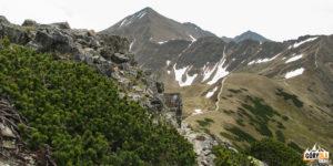 Zejście z Ornaku (1854 m) na Siwą Przełęcz, w tle szczyty Błyszcza (2158 m) i Bystrej (2248 m)