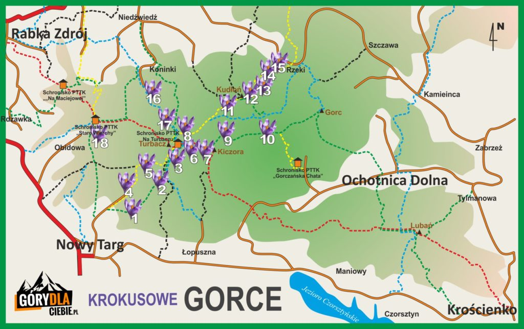 Krokusy wGorcach - mapa