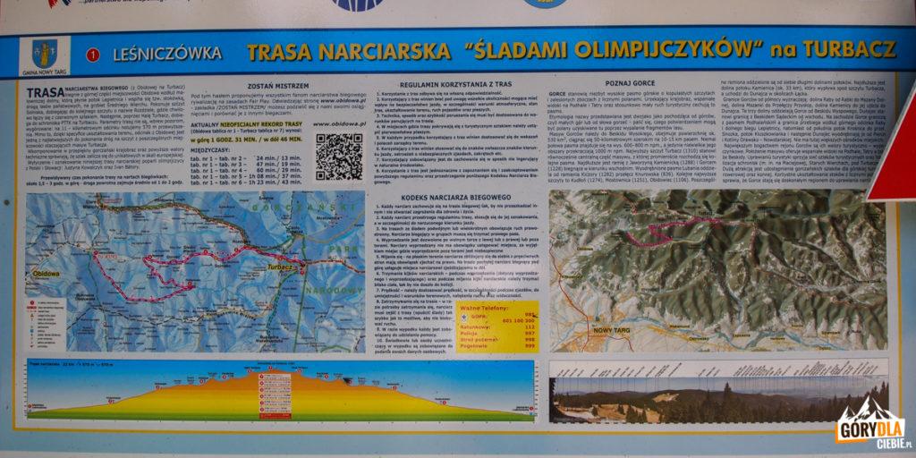 """Tablica informacyjna trasy """"Śladami Olimpijczyków"""""""