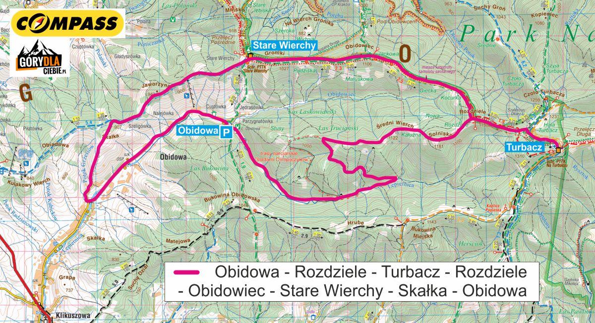 Turbacz i Stare Wierchy rowerem z Obidowej mapa