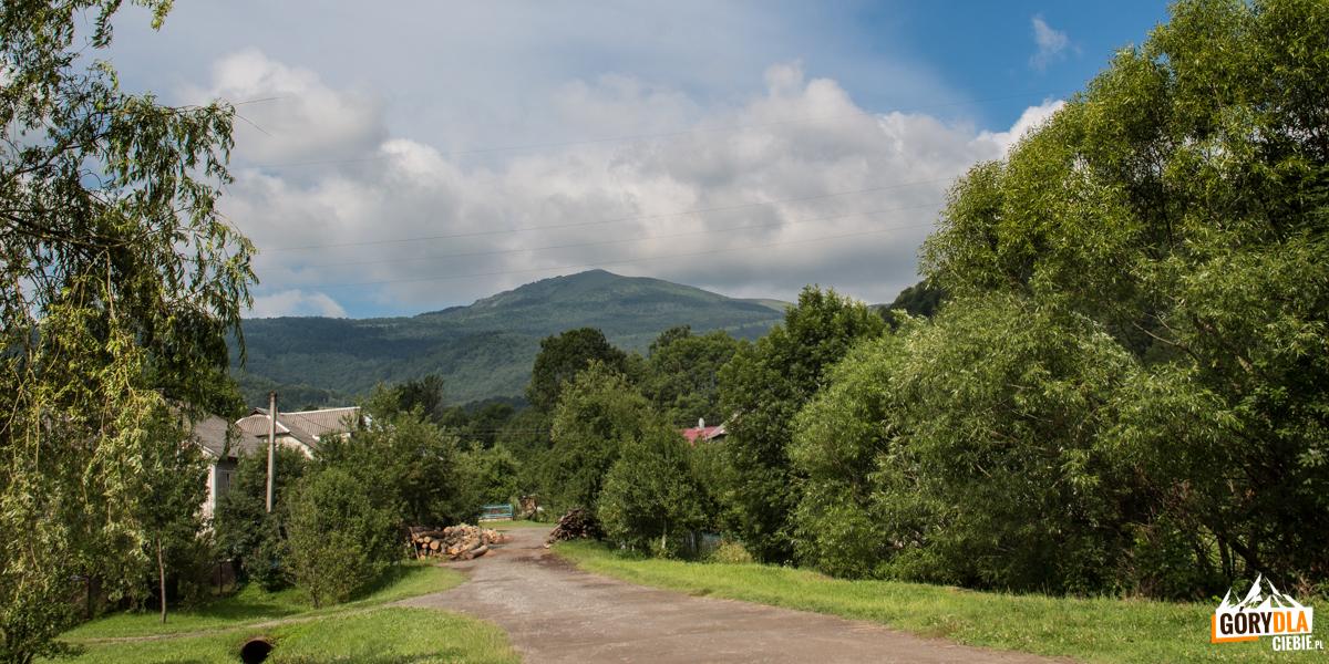 Widok na Pikuj (1408 m) z drogi w Biłasowicy