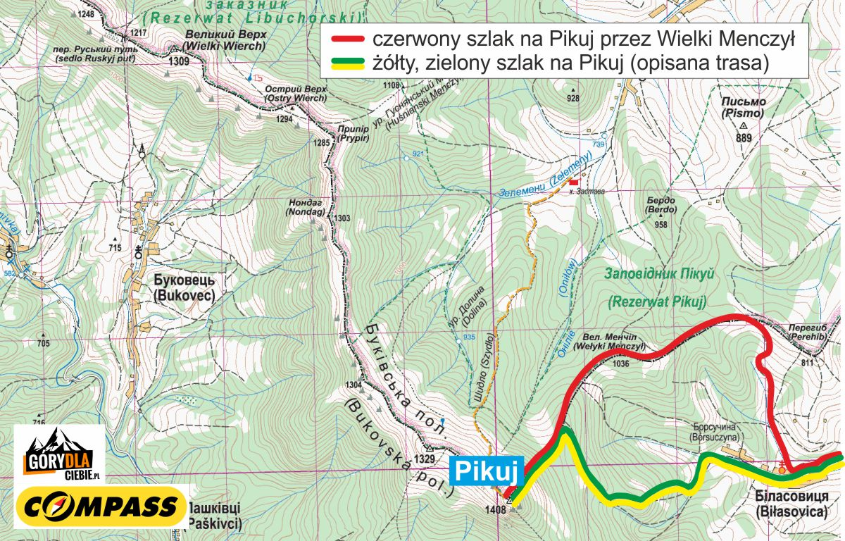 Pikuj - mapa trasy z Biłasowicy