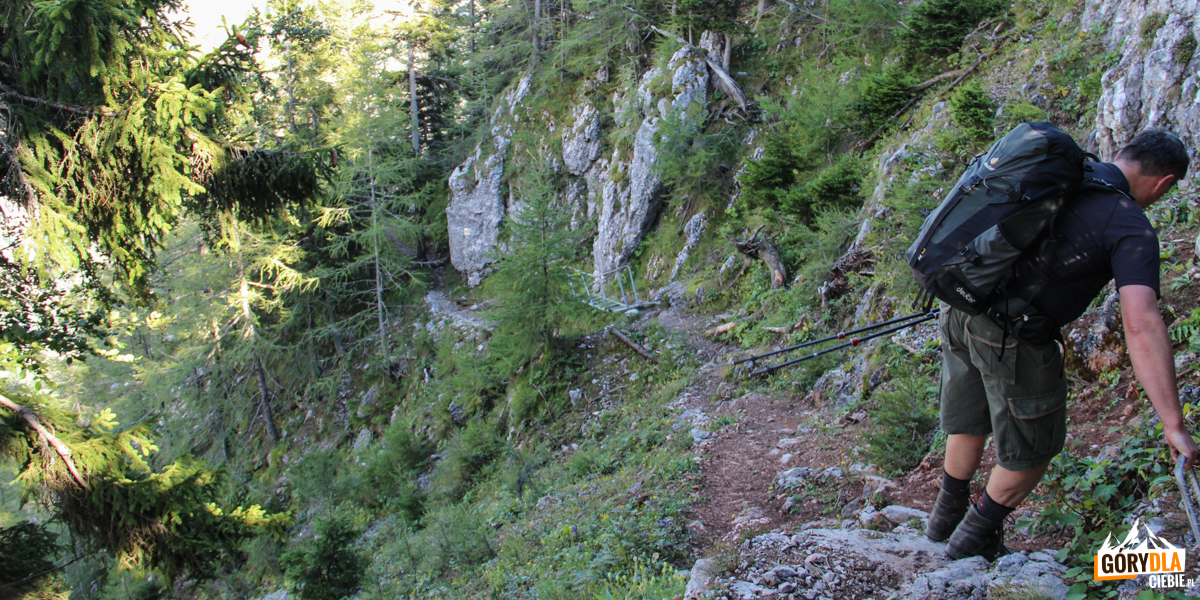 Zejście żółtym szlakiem do wsi Kaisserbrunn