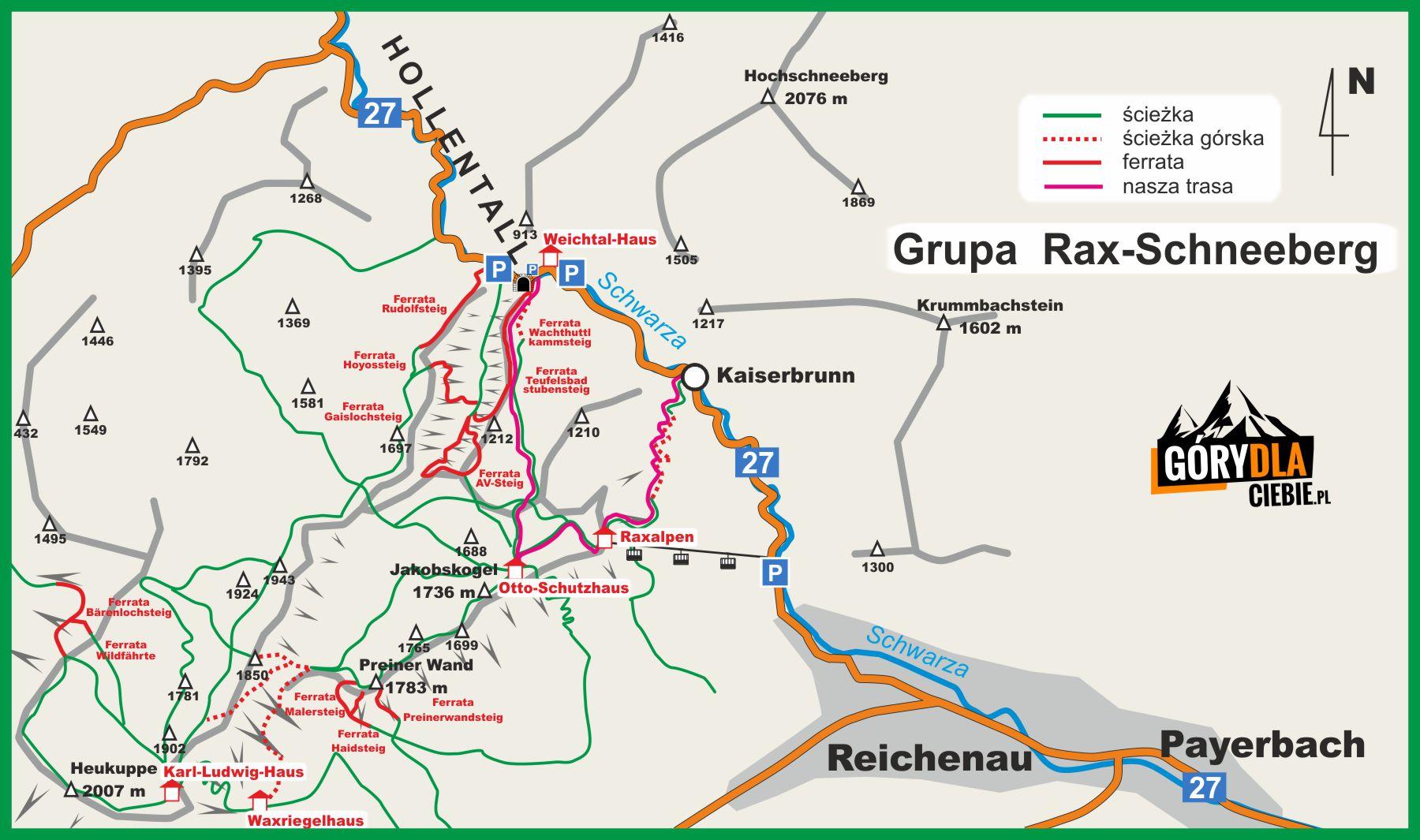 Góry Rax - mapa