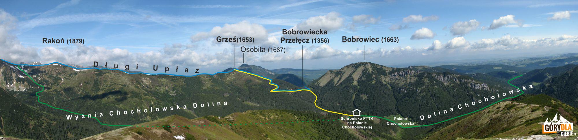 Trasa z Chochołowskiej Polany na Grzesia, i Rakoń