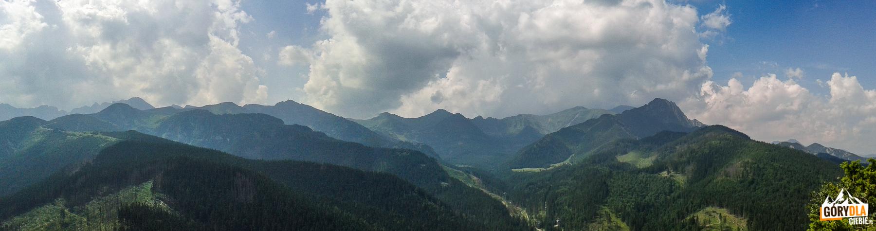 Panorama Tatr z Nosala (1206 m): od lewj Świnica, Kasprowy Wierch, Goryczkowe Czuby, Kopa Kondrackai Giewont