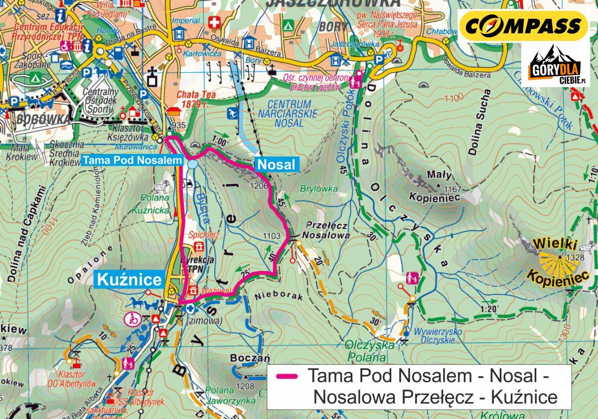 Nosal mapa trasy