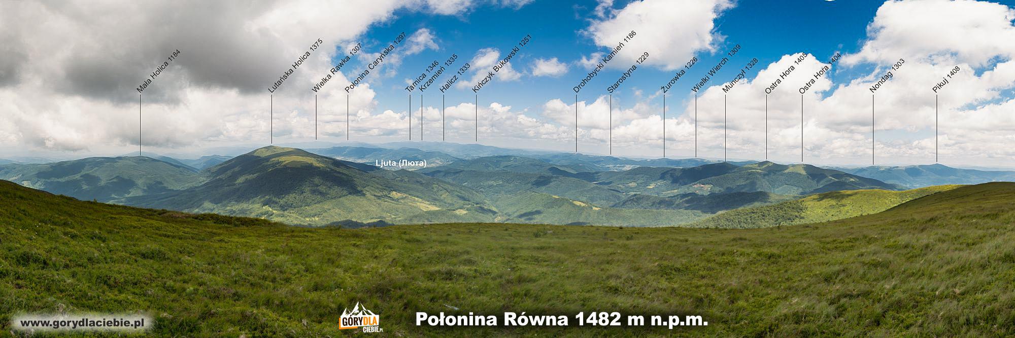 Połonina Równa (1482 m) - panorama zopisem szczytów