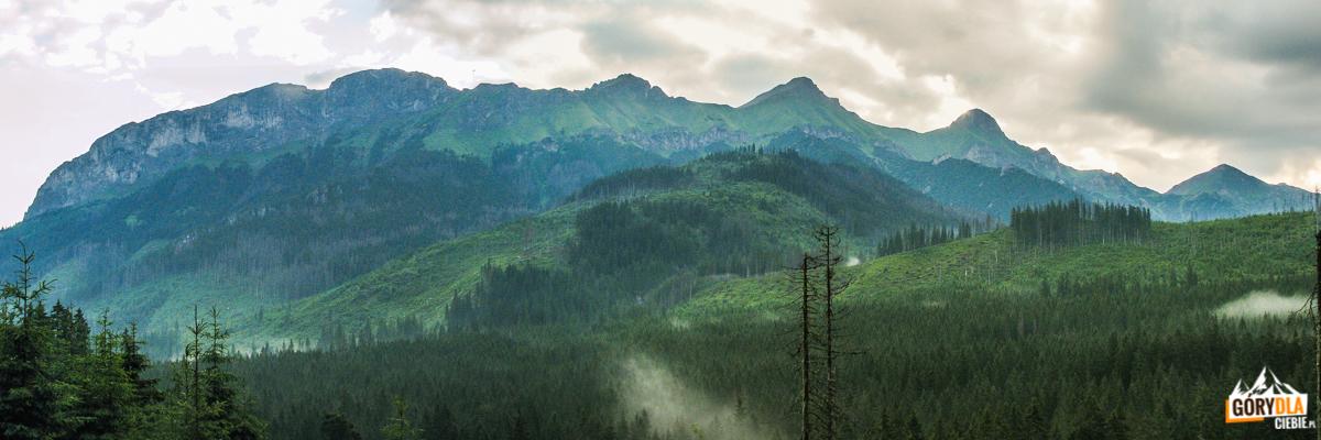 Widok na szczyty otaczające Polanę nad Muraniem: Murań, Nowy Wierch, Hawrań, Płaczliwa Skała i Szalony Wierch