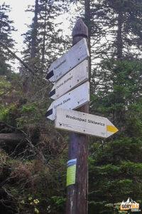 Drogowskazy na Polanie Strążyskiej - droga do Wodospadu Siklawica