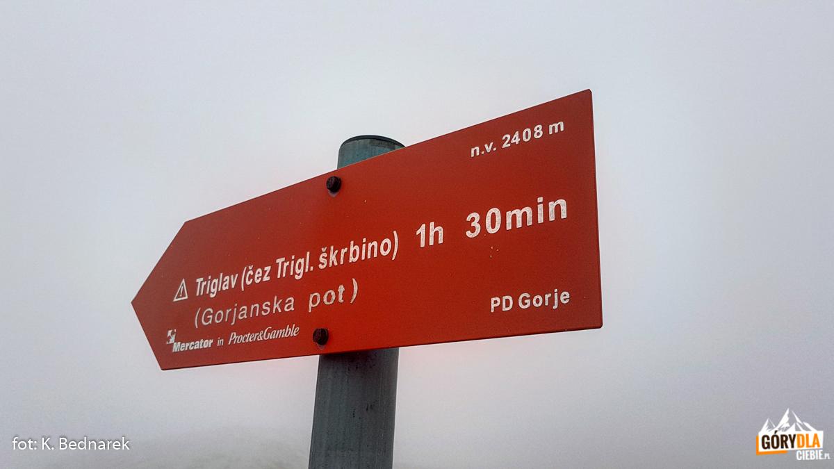 Znaki naTriglav przy schronisku Planika Dom