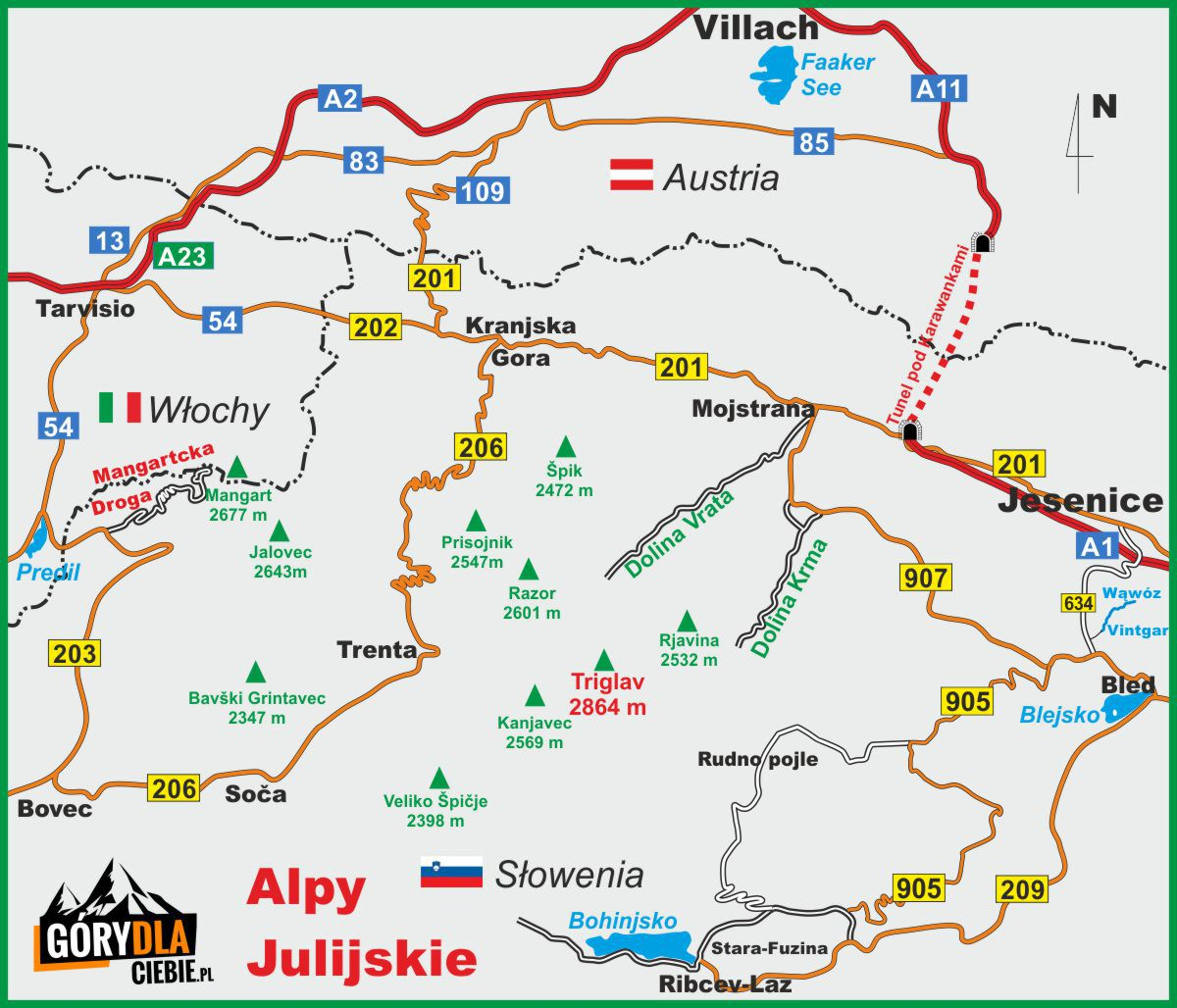Alpy Julijskie - mapa