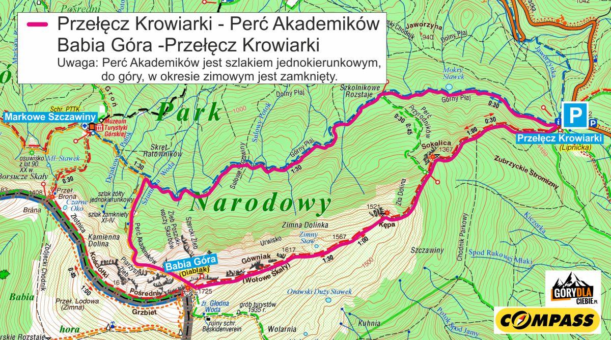 Babia Góra Perć Akademików - mapa trasy