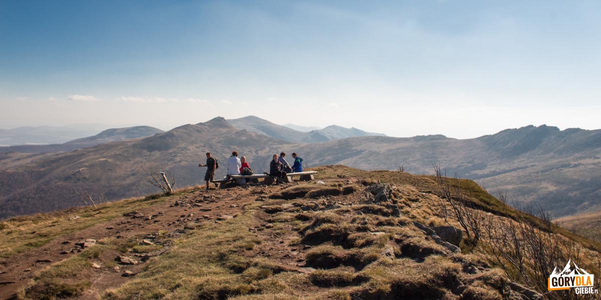 Najwyższy punkt pasma Bukowego Berda (1313 m), skąd rozciąga się jedna zpiękniejszych bieszczadzkich panoram. Poprawej doskonale widoczny jest Krzemień iHalicz