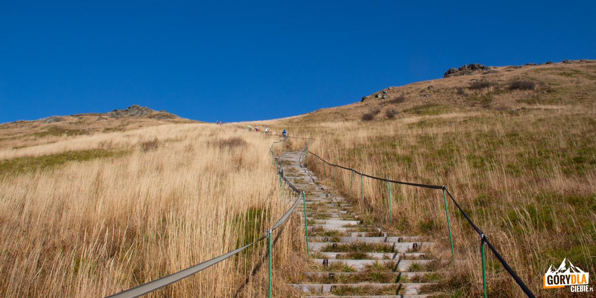 Schody zKrzemienia naPrzełęcz Goprowską (1160 m)