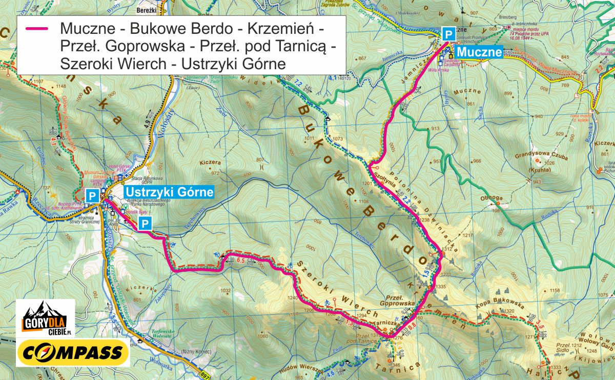 Bukowe Berdo iSzeroki Wierch - mapa trasy