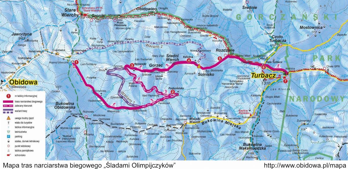 """Mapa tras narciarskich """"Śladami Olimpijczyków"""""""