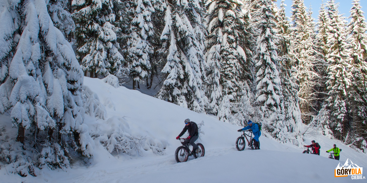 Zimą trasa na Turbacz jest popularna także wśród rowerzystów
