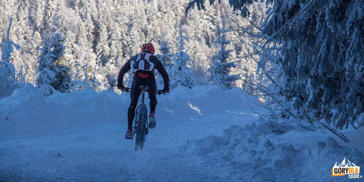 Zimą trasa naTurbacz jest popularna także wśród rowerzystów