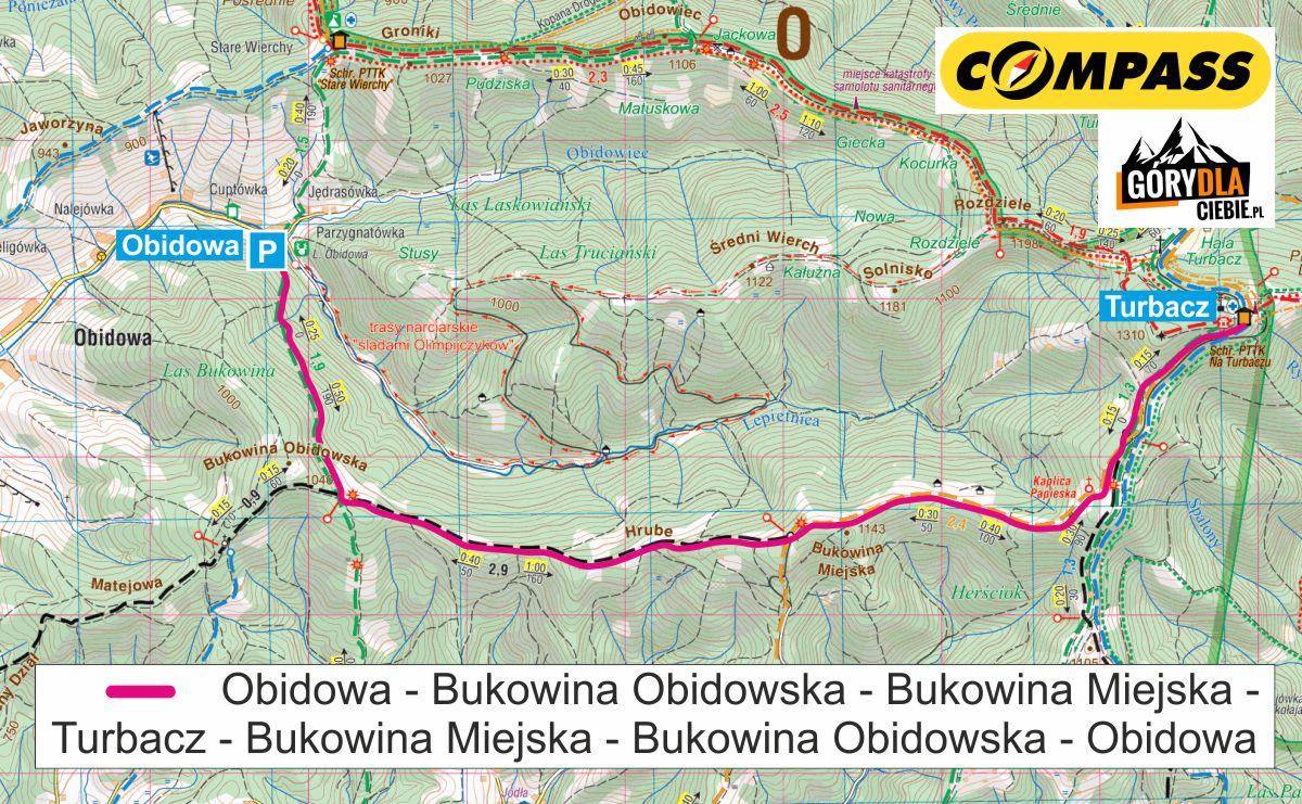 Z Obidowej na Turbacz - mapa trasy