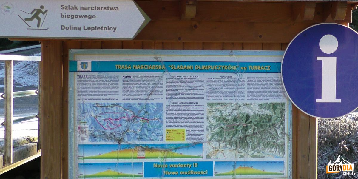 Tablica informacyjna tras narciarstwa biegowego w Obidowej