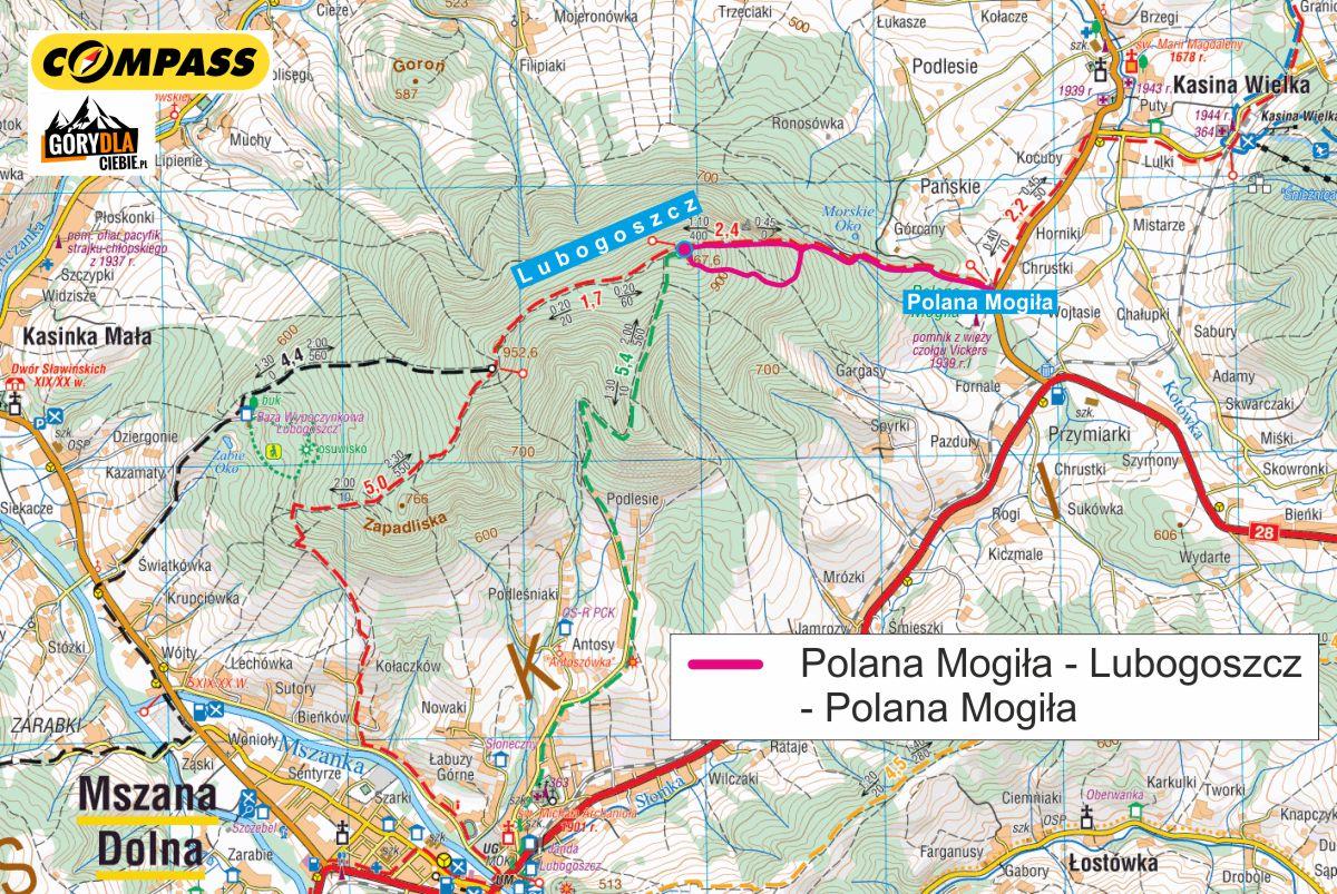 Lubogoszcz czerwonym szlakiem zpolany Mogiła - mapa trasy