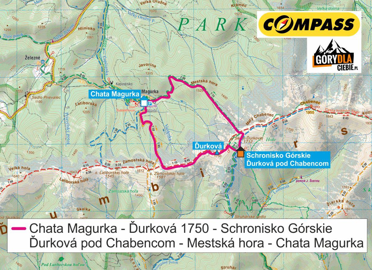 Durkova, Tatry Niżne - mapa trasy