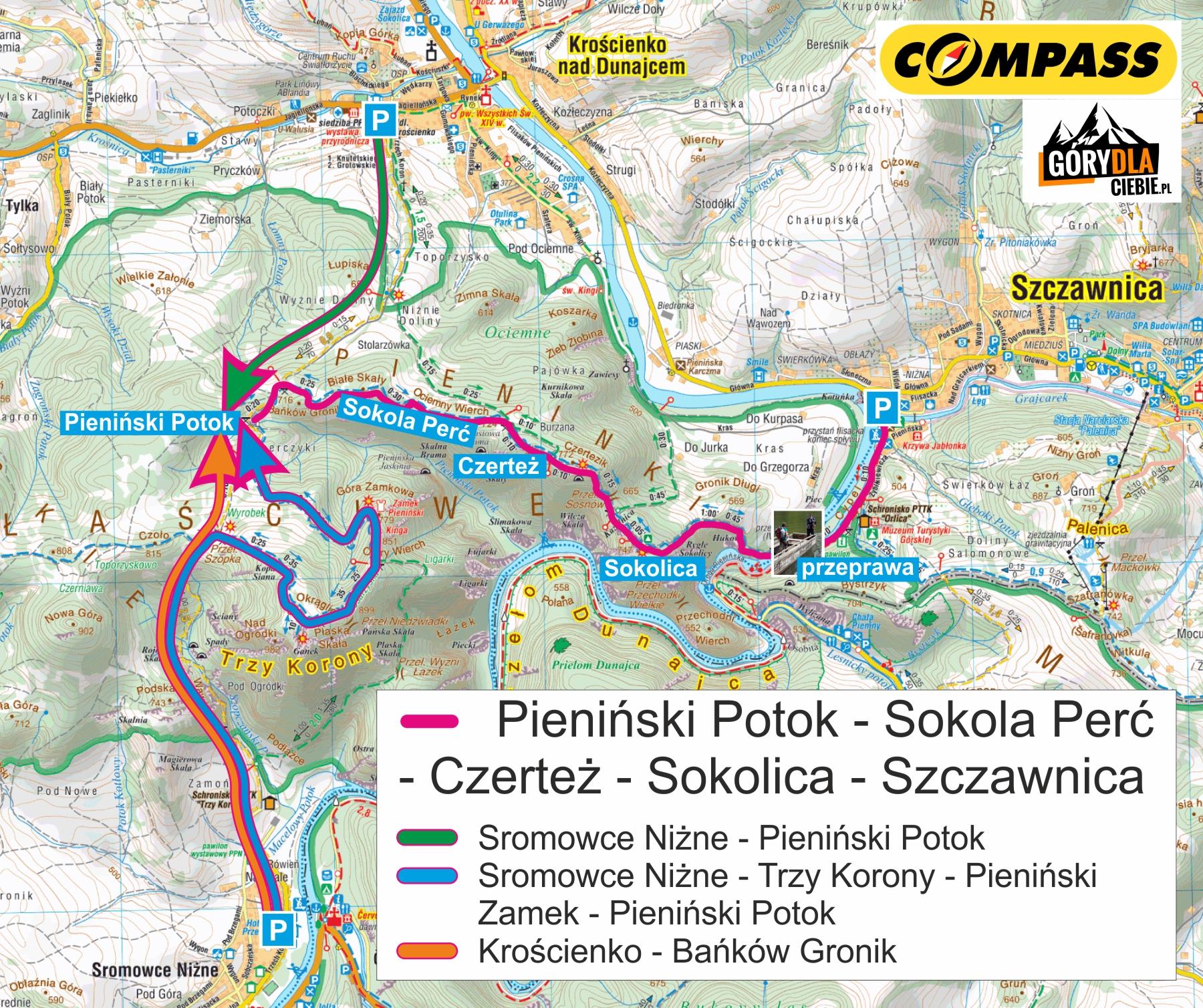 Pieniny Sokoa Perć mapa