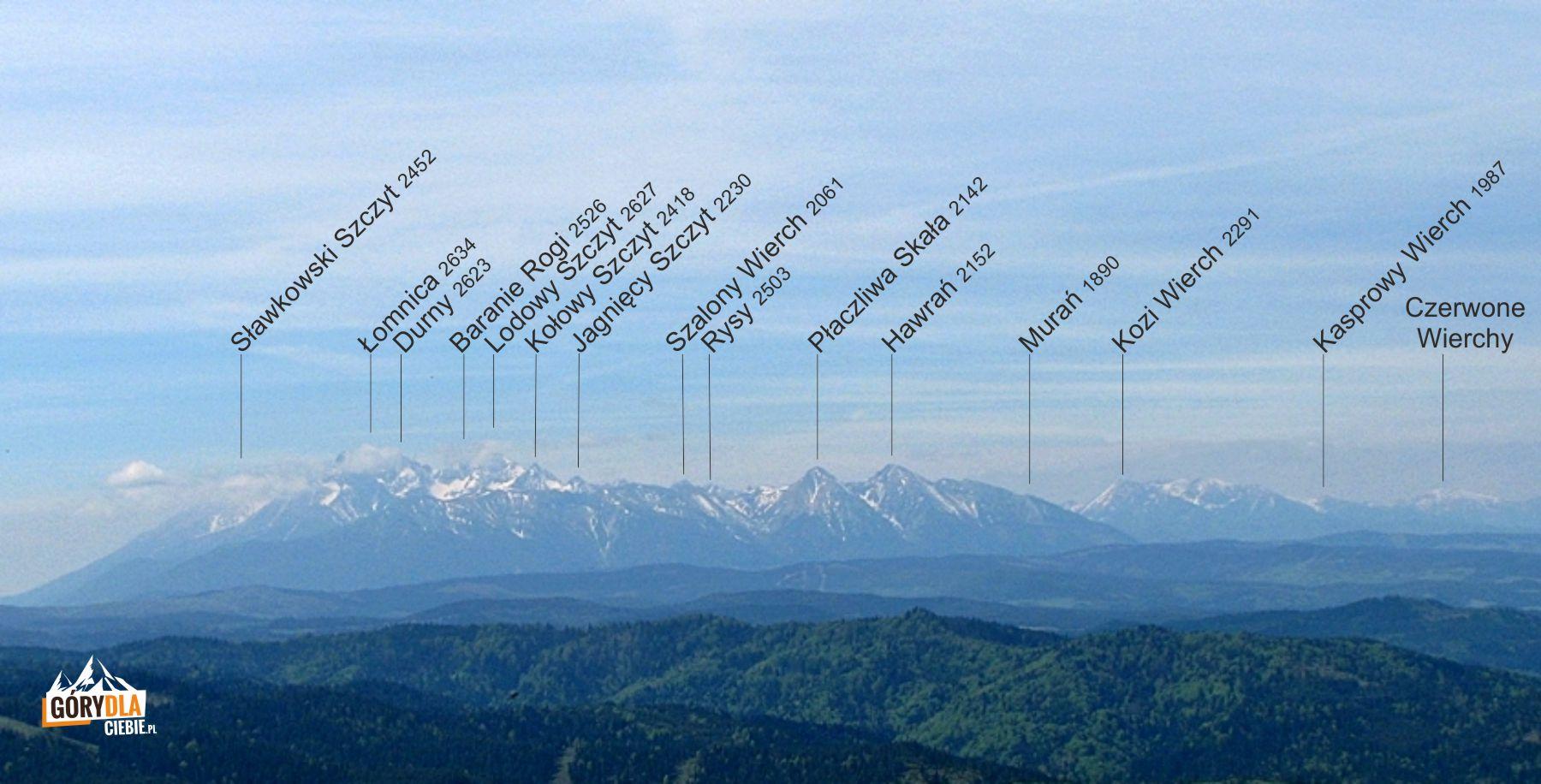 Panorama Tatr z Wysokiej