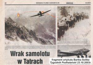 """Katastrofa na Gerlachu, art. Bartek Solik """"Wrak samolotu w Tatrach"""" TP 43/2003"""