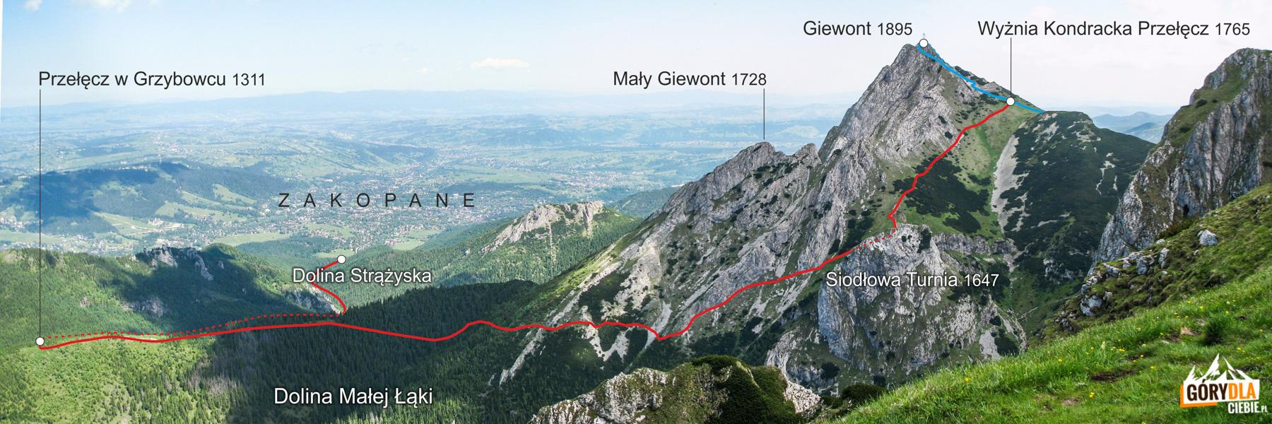 Wejście na Giewont czerwonym szlakiem przez Przełęcz w Grzybowcu