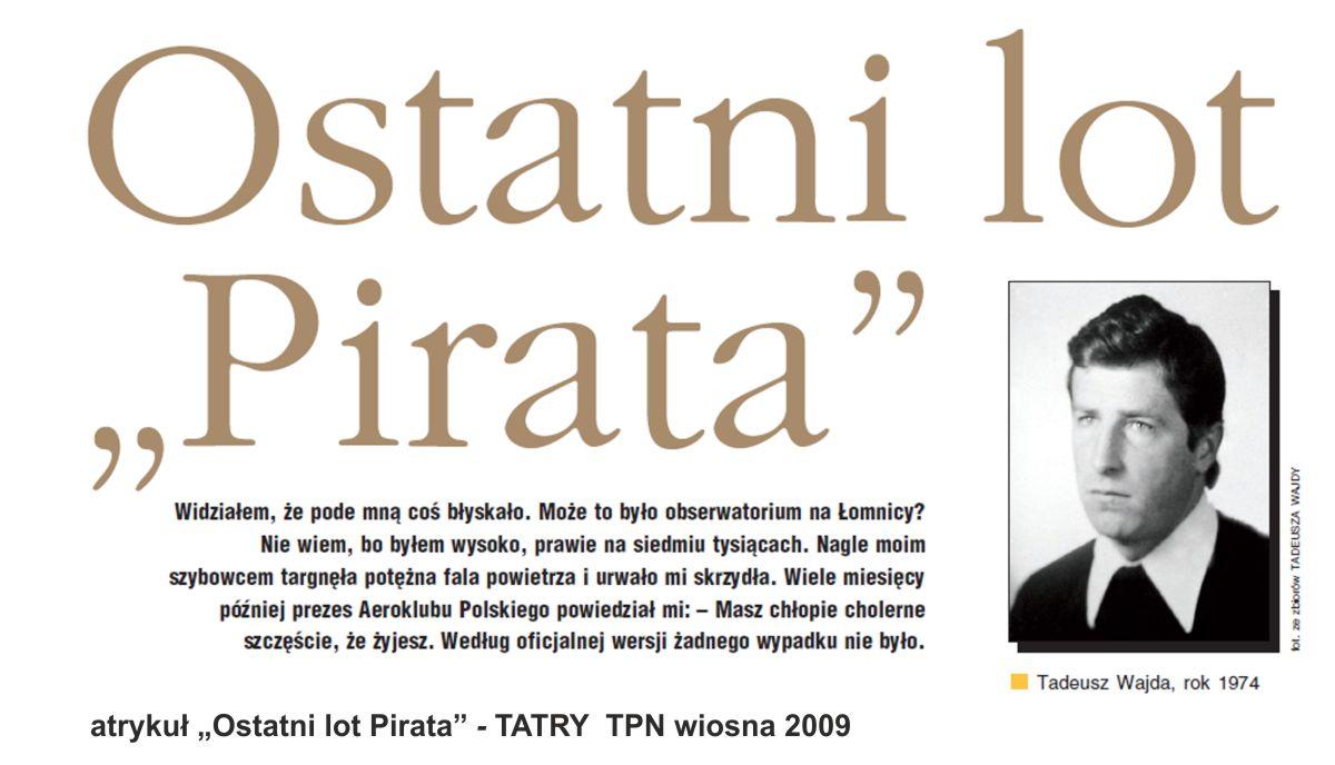 """Artykuł """"Ostatni lot Pirata"""" - TATRY TPN wiosna 2009"""