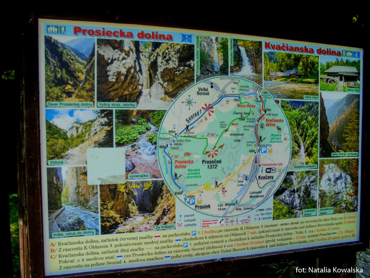 Mapa atrakcji Doliny Prosieckiej i Kwaczańskiej, zdj. Natalia Kowalska