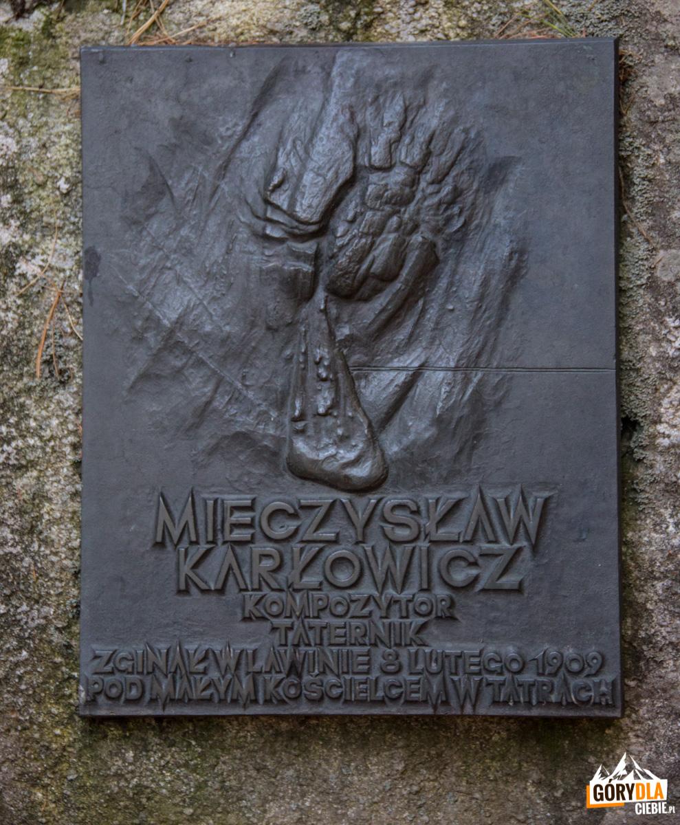 Tatrzański Cmentarz Symboliczny podOsterwą - tablica Mieczysława Karłowicza