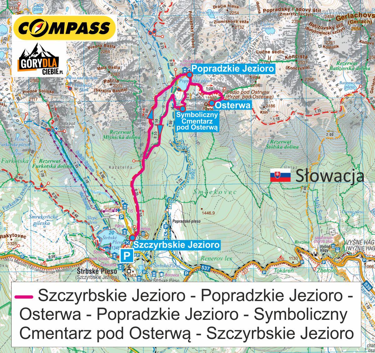 Przełęcz pod Osterwą - mapa trasy