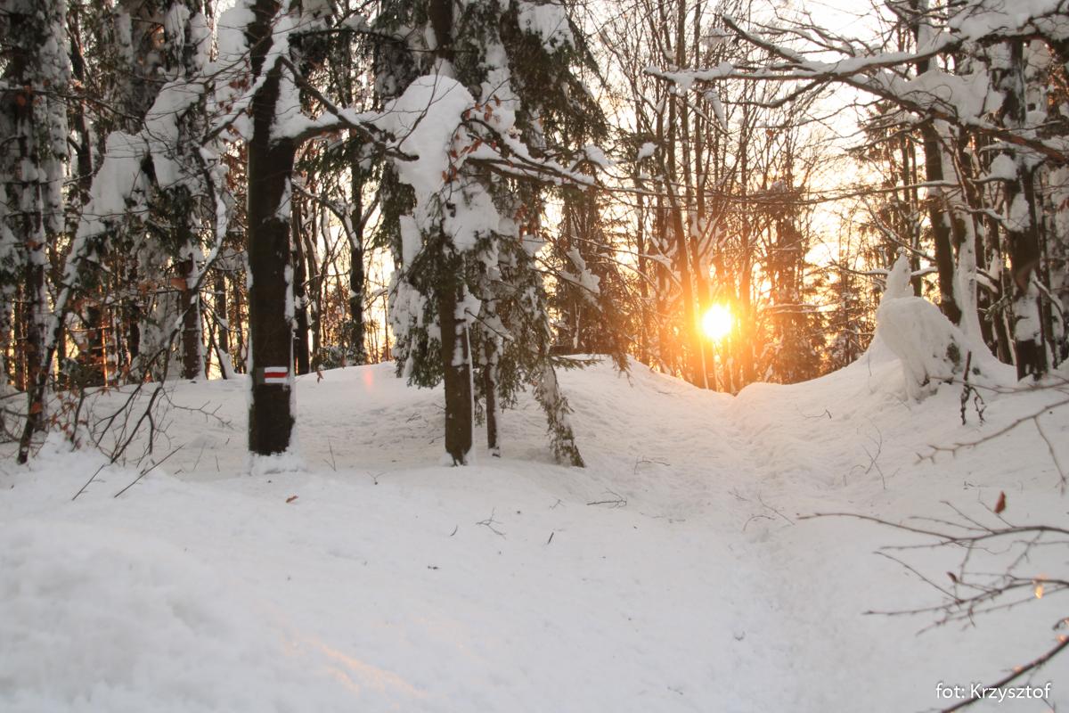 Zachód słońca w Beskidzie Małym