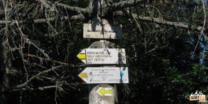 Słowackie drogowskazy szlaków na szczycie Eliaszówki (1024 m)