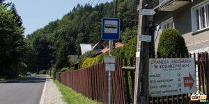 Kosarzyska - przystanek autobusowy przy Stanicy Harcerskiej