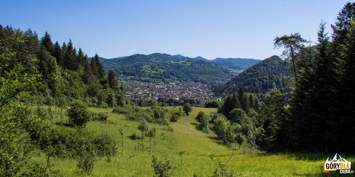 Panorama Szczawnicy z podejścia niebieskim szlakiem na Sokolicę