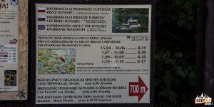 Tablica informacyjna o przewozie przez Dunajec