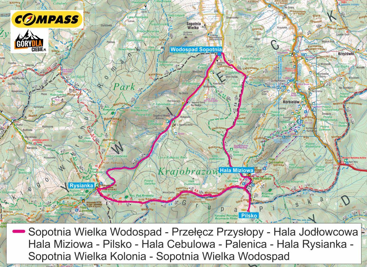 Pilsko i Rysianka mapa