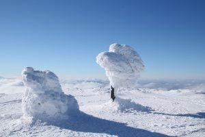 Fantazyjne śnieżne rzeźby na Pilsku