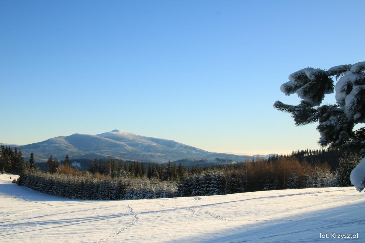 Idziemy czarnym szlakiem na Uszczawne Niżne. Babia Góra i Tatry często widoczne po lewej stronie